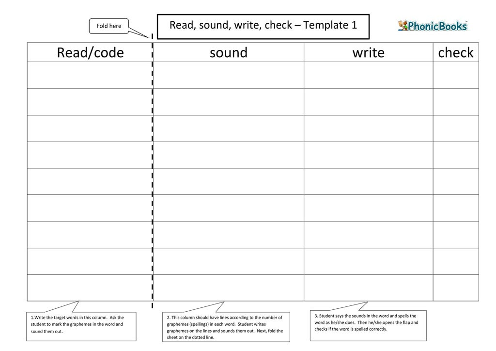 Read Sound Write check template 1