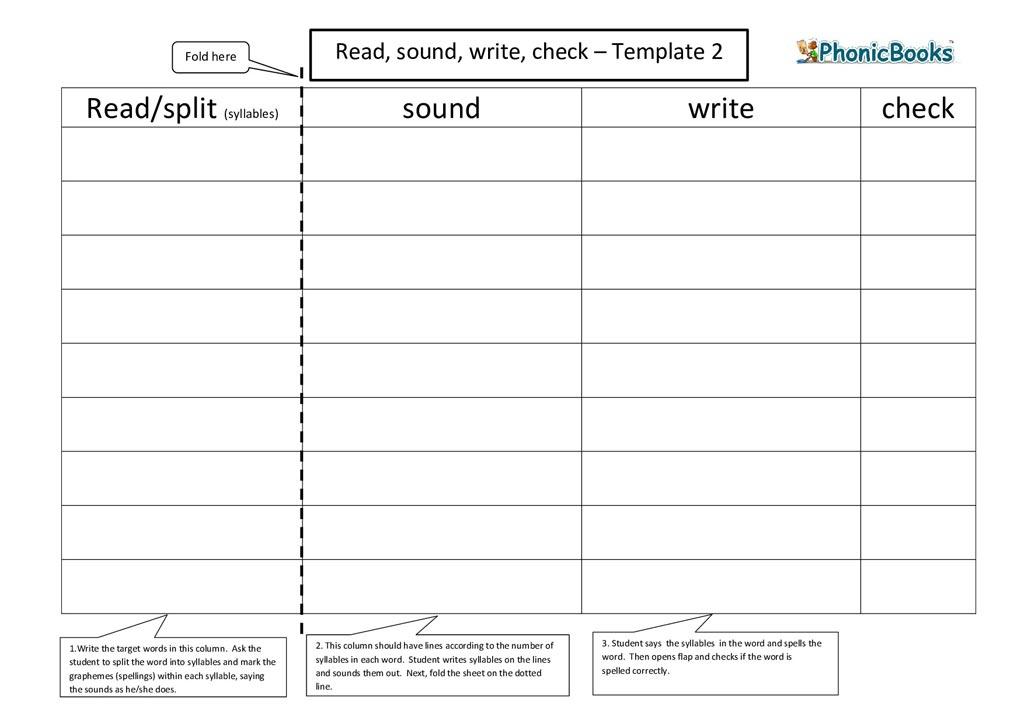 Read Sound Write check template 2