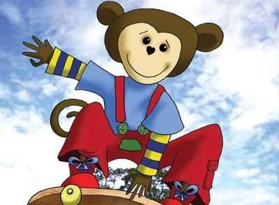 Cartoon monkey on skateboard